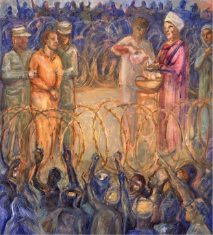 Pilate is seen washing his hands surrounded by barbed wire. Based on photos from Guantanamo detention camp. Find out more about Pontius Pilate: https://en.wikipedia.org/wiki/Pontius_Pilate