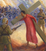 In a city street, Jesus struggles to lift the cross onto his shoulders. Two soldiers holding rifles stand guard. Listen to Agnus Dei, arranged from Samuel Barber Adagio for Strings: https://www.youtube.com/watch?v=SuBQZFOnk7s