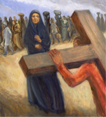 "Mary is a peasant woman with dark robes pulled around her head (based on a photo of a mother standing vigil outside Abu Ghraib prison in Iraq). In the background a file of refugees walk along. Read a reflection by Jon Bloom on verses spoken to Mary ""a sword shall pierce your heart"": https://www.desiringgod.org/articles/when-a-sword-pierces-your-soul"