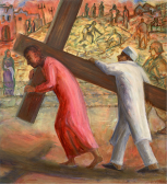 In a city street, lined with barbed wire, a man in Muslim dress helps Jesus carry the cross. In the background the ruins of a bombed house where people are searching in the rubble. Listen to There is a green hill in a faraway country, by Geraldine Latty: https://www.youtube.com/watch?v=h5u0fCN4IKs