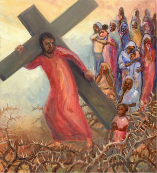 Jesus turns to the weeping women that follow him on the road to Calvary with an expression of concern and sadness. Here they are depicted as refugee women of Darfur, Sudan. Kyrie Eleison (Lord, have mercy) from Missa Luba (Congolese): https://www.youtube.com/watch?v=9qXO6nmWecY