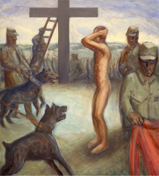 Jesus is naked and stands with arms up, hands behind his head. He is threatened by dogs on leashes held by soldiers (based on an Abu Ghraib photo). Read the story from the Gospel of John, chapter 19: https://www.biblegateway.com/passage/?search=john%2019&version=NIV