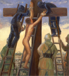 A contemporary reworking of a composition by Giovanni Baronzio (Italian, 14th Century) in which Jesus is made to climb the cross on a ladder. Read the poem Christmas is really for the children by Steve Turner: https://www.frsimon.uk/christmas-is-really-for-the-children-poem-by-steve-turner/