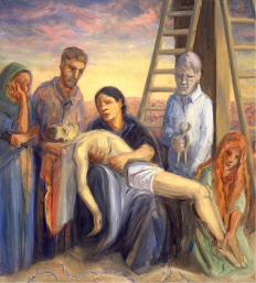 Inspired by Northern European sculptures of the Pietà. The Mary is the same Iraqi peasant woman from Station 4. Mary Magdalene kneels and holds Jesus' feet. Listen to Stabat Mater by Arvo Pärt: https://www.youtube.com/watch?v=ne1Azm4Ezpc
