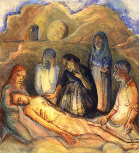 Based on a photo of a mother grieving her dead child from Beslan in Russia. Behind is the open mouth of the tomb with the wheel of stone waiting to be rolled into place.Read This is the time to be slow, poem by John O'Donohue: https://www.indcatholicnews.com/news/39244